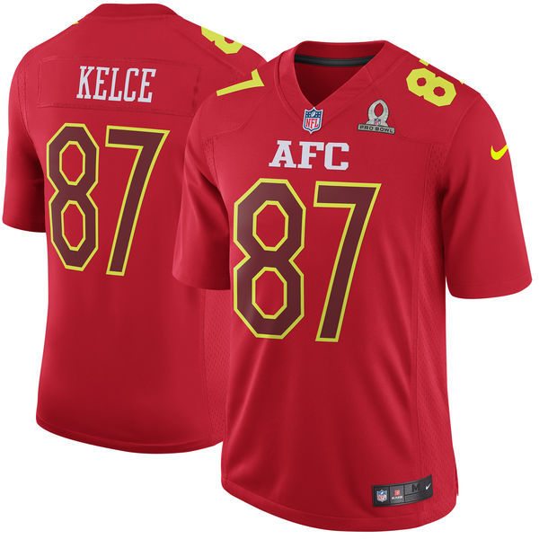 Nike Chiefs 87 Travis Kelce Red 2017 Pro Bowl Youth Game Jersey
