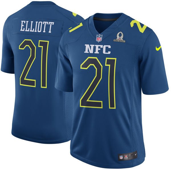Nike Cowboys 21 Ezekiel Elliott Blue 2017 Pro Bowl Youth Game Jersey