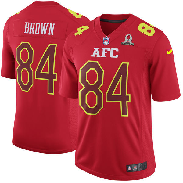 Nike Steelers 84 Antonio Brown Red 2017 Pro Bowl Youth Game Jersey