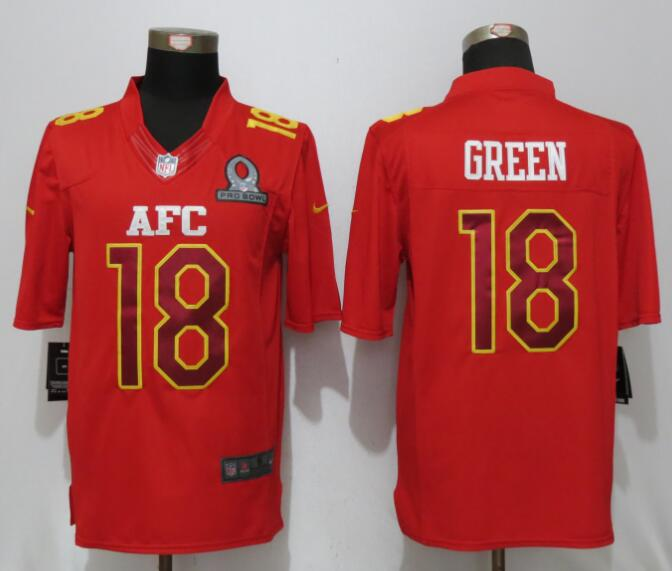 Nike Bengals 18 A.J. Green Red 2017 Pro Bowl Limited Jersey