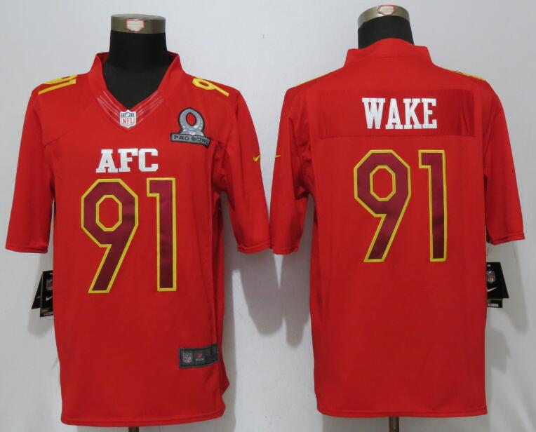 Nike Dolphins 91 Cameron Wake Red 2017 Pro Bowl Limited Jersey