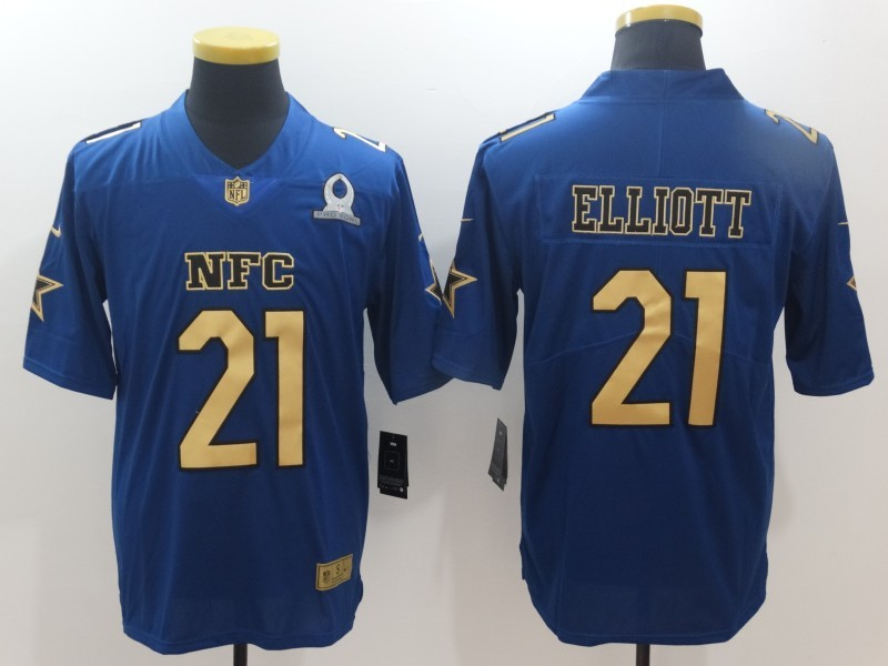 Nike Cowboys 21 Ezekiel Elliott Blue Gold Collection 2017 Pro Bowl Limited Jersey