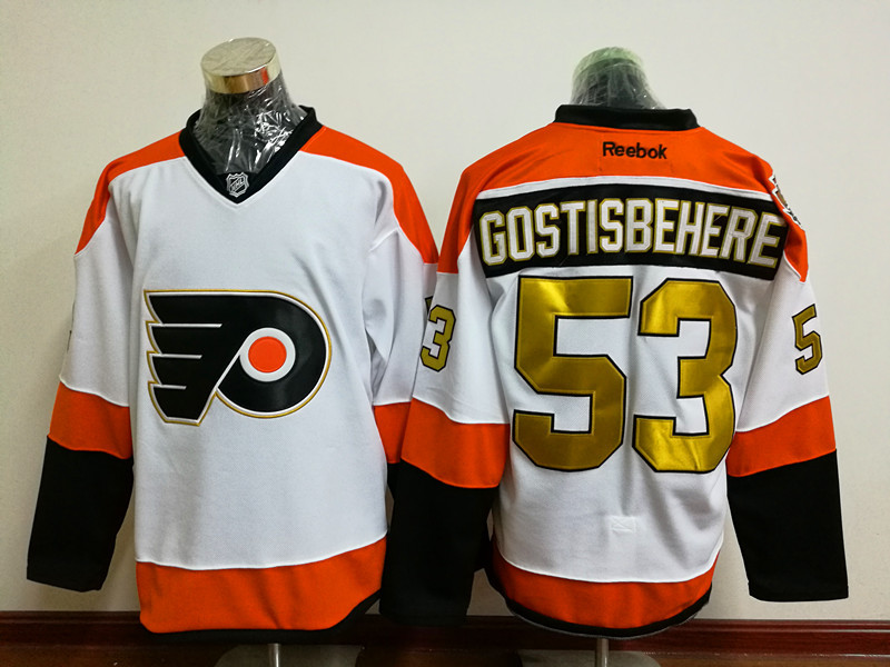 Flyers 53 Shayne Gostisbehere White With 50th Anniversary Patch Reebok Jersey