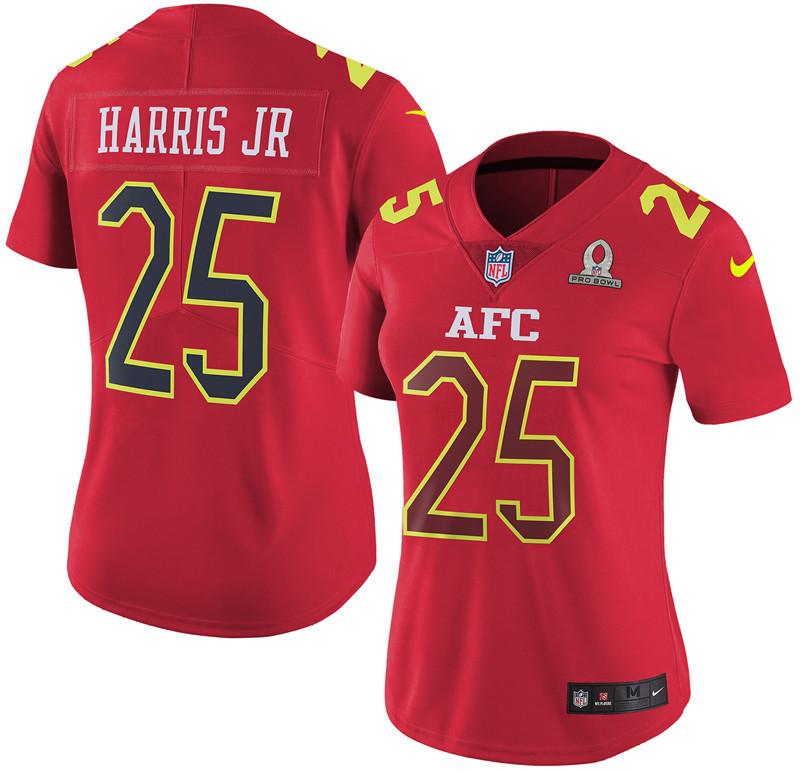 Nike Broncos 25 Chris Harris Jr Red 2017 Pro Bowl Women Game Jersey