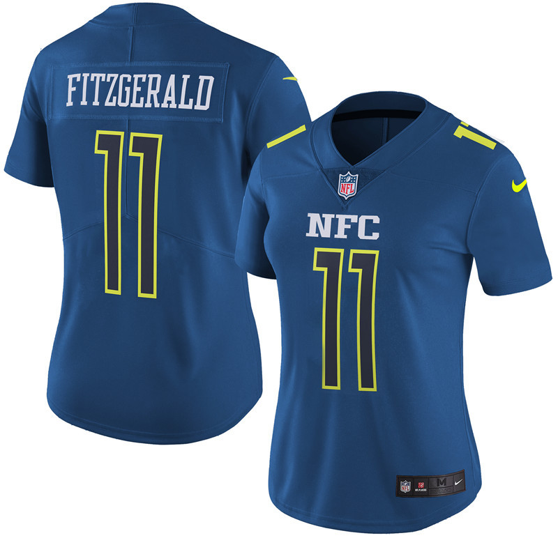 Nike Cardinals 11 Larry Fitzgerald Navy 2017 Pro Bowl Women Game Jersey