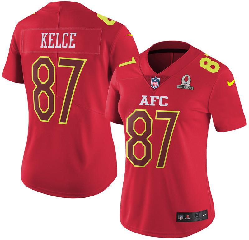 Nike Chiefs 87 Travis Kelce Red 2017 Pro Bowl Women Game Jersey
