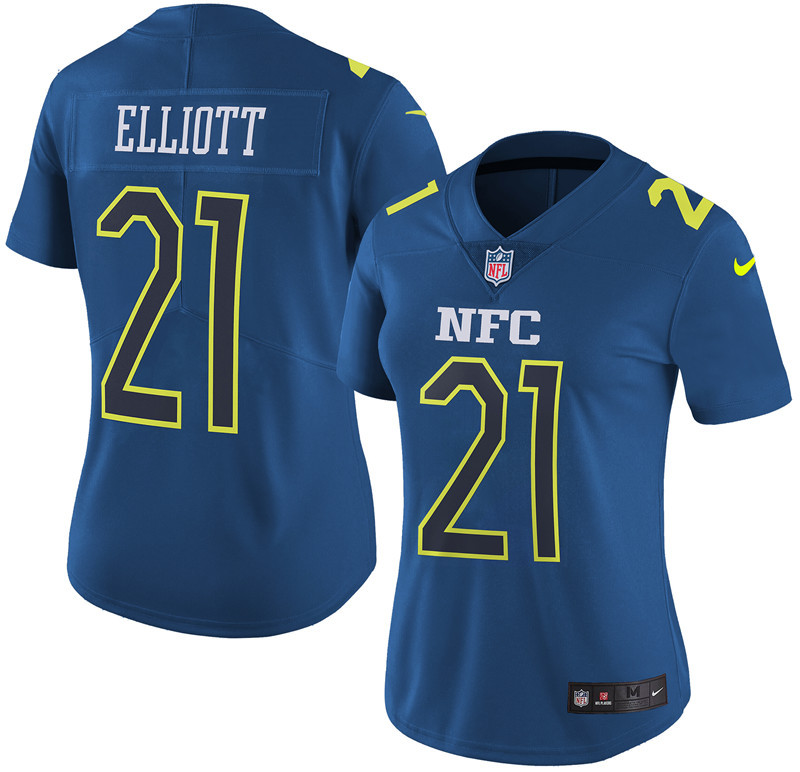 Nike Cowboys 21 Ezekiel Elliott Navy 2017 Pro Bowl Women Game Jersey