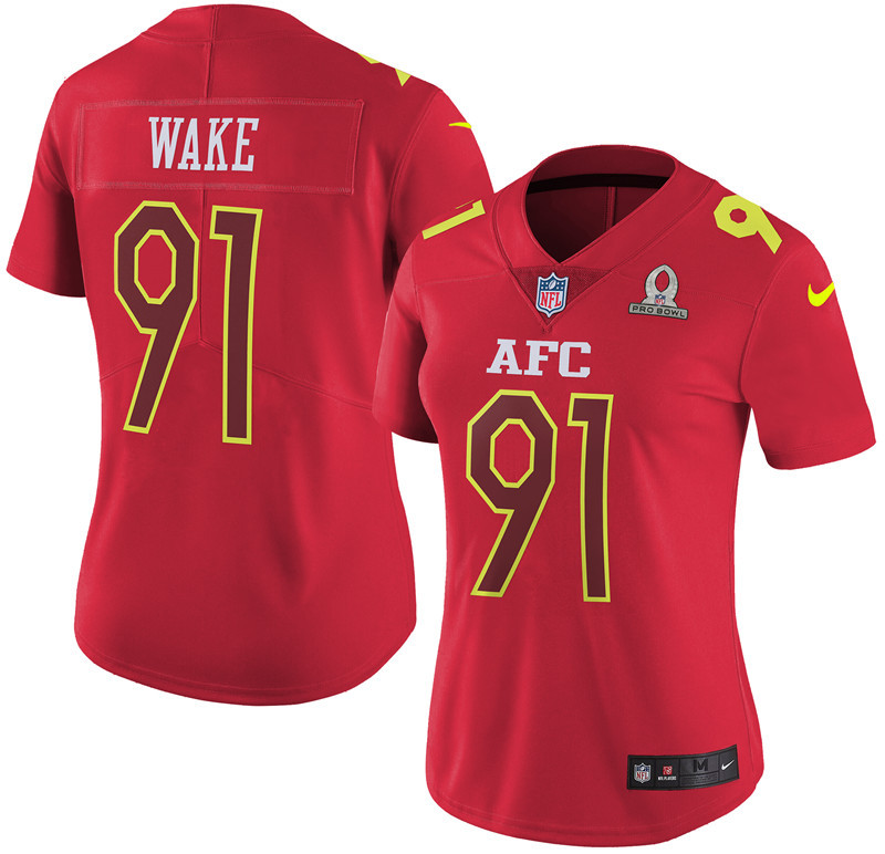 Nike Dolphins 91 Cameron Wake Red 2017 Pro Bowl Women Game Jersey
