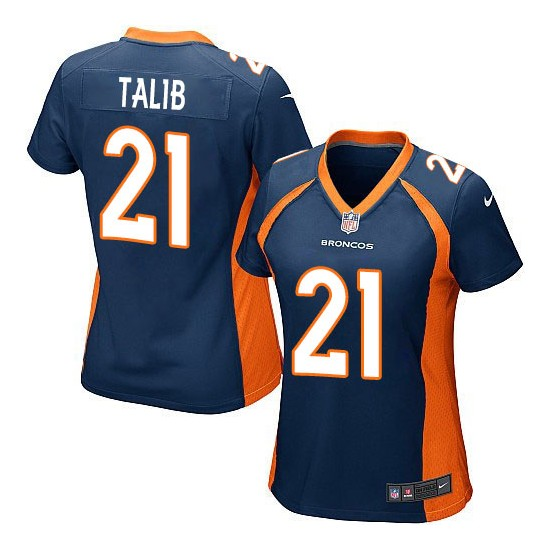 Nike Broncos 21 Aqib Talib Navy Women Game Jersey
