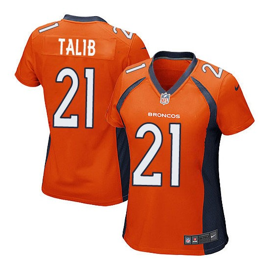Nike Broncos 21 Aqib Talib Orange Women Game Jersey