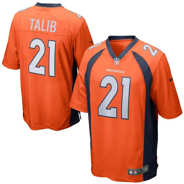 Nike Broncos 21 Aqib Talib Orange Youth Game Jersey