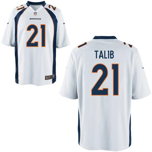 Nike Broncos 21 Aqib Talib White Youth Game Jersey