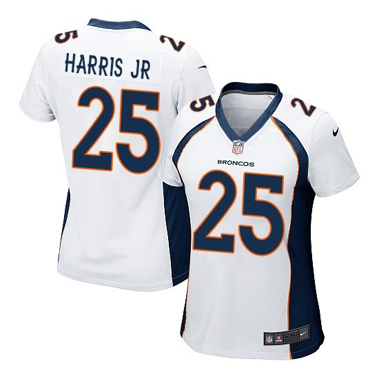 Nike Broncos 25 Chris Harris Jr White Women Game Jersey