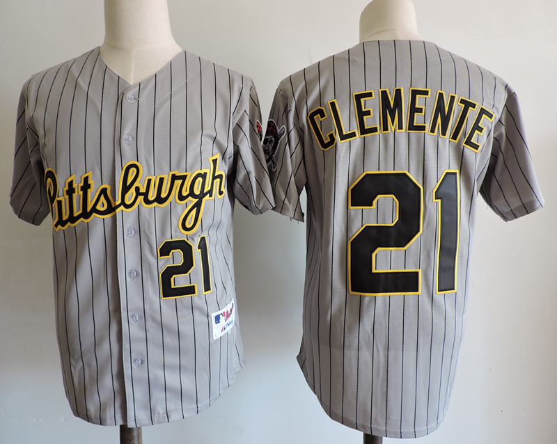Pirates 21 Roberto Clemente Gray 1997 Throwback Turn Back The Clock Jersey