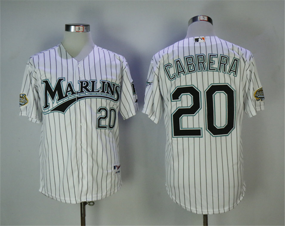 Marlins 20 Miguel Cabrera White Throwback Jersey
