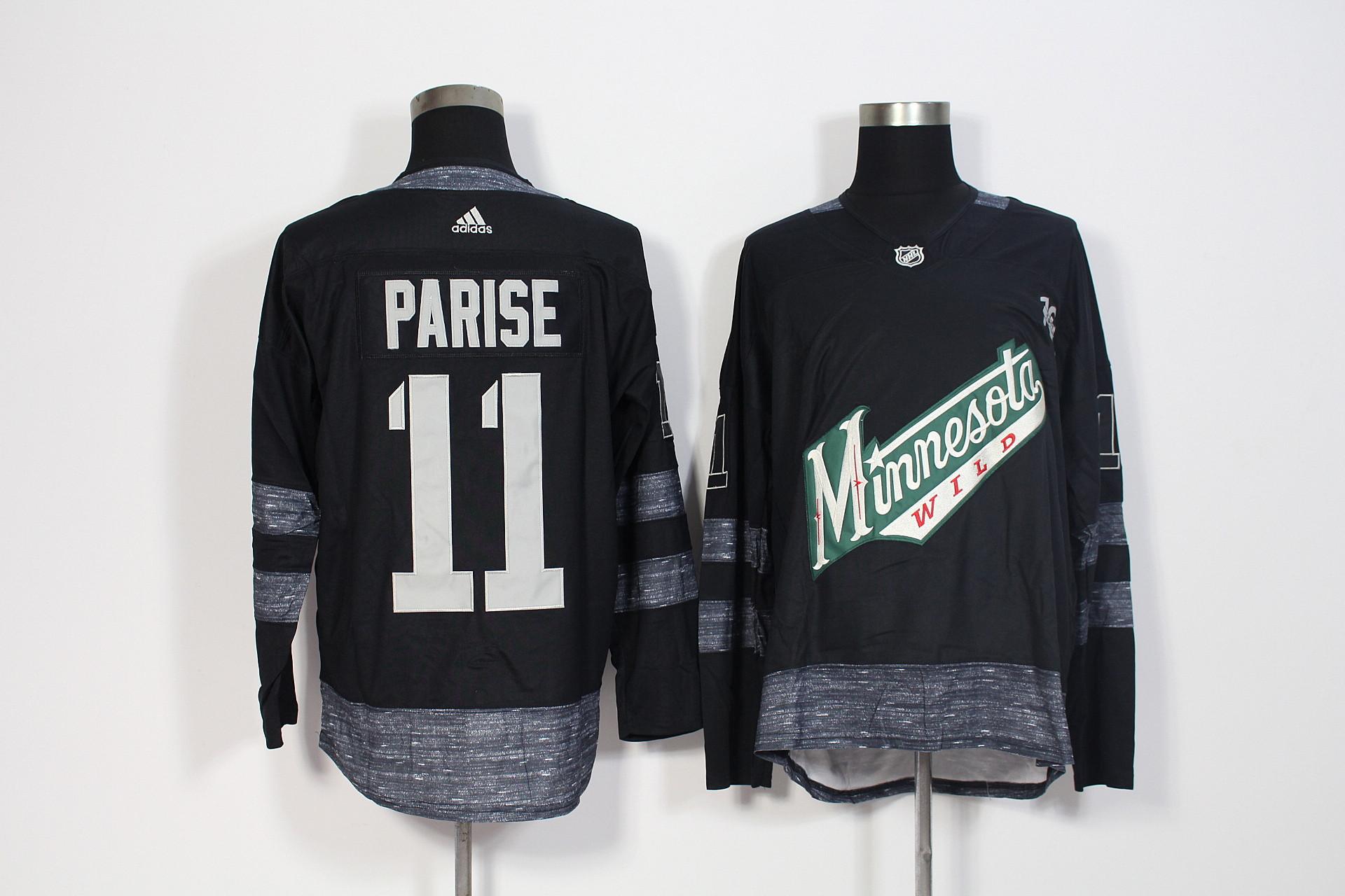 Wild 11 Zach Parise Black 1917-2017 100th Anniversary Adidas Jersey
