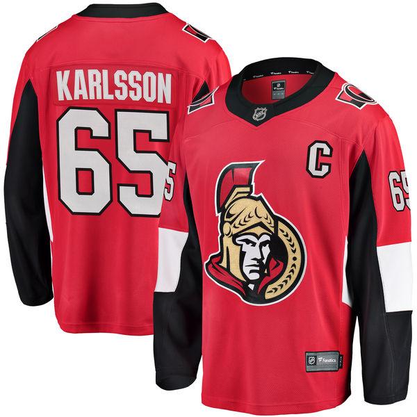 Senators 65 Erik Karlsson Red Fanatics Branded Breakaway Player Jersey