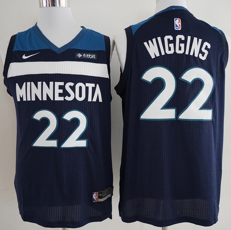 Timberwolves 22 Andrew Wiggins Navy Authentic Jersey