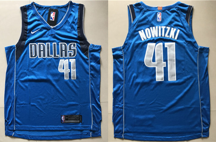 Mavericks 41 Dirk Nowitzki Blue Nike Authentic Jersey