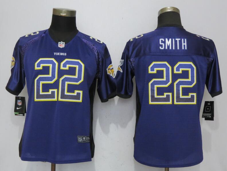 Nike Vikings 22 Harrison Smith Purple Women Drift Fashion Jersey