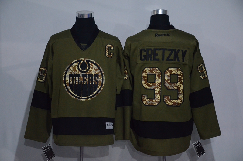 Oilers 99 Wayne Gretzky Olive Green Salute to Service Reebok Jersey