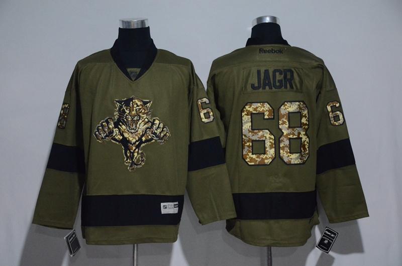Panthers 68 Jaromir Jagr Olive Green Salute to Service Reebok Jersey
