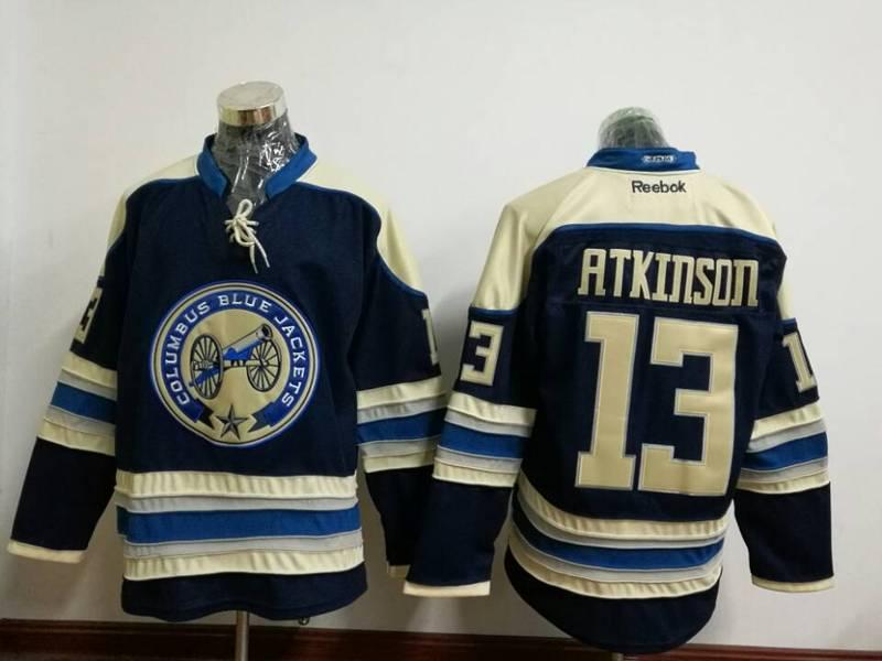 Blue Jackets 13 Cam Atkinson Navy Blue Reebok Jersey