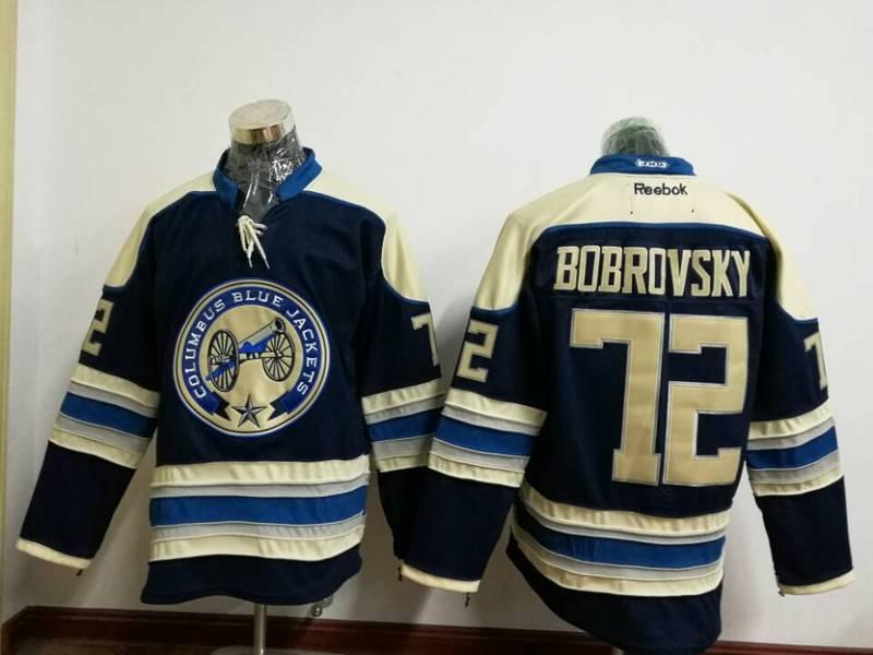 Blue Jackets 72 Sergei Bobrovsky Navy Blue Reebok Jersey