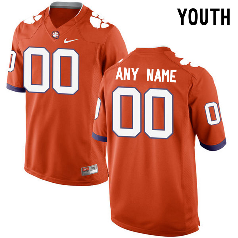Clemson Tigers Orange Youth Customized College Jersey