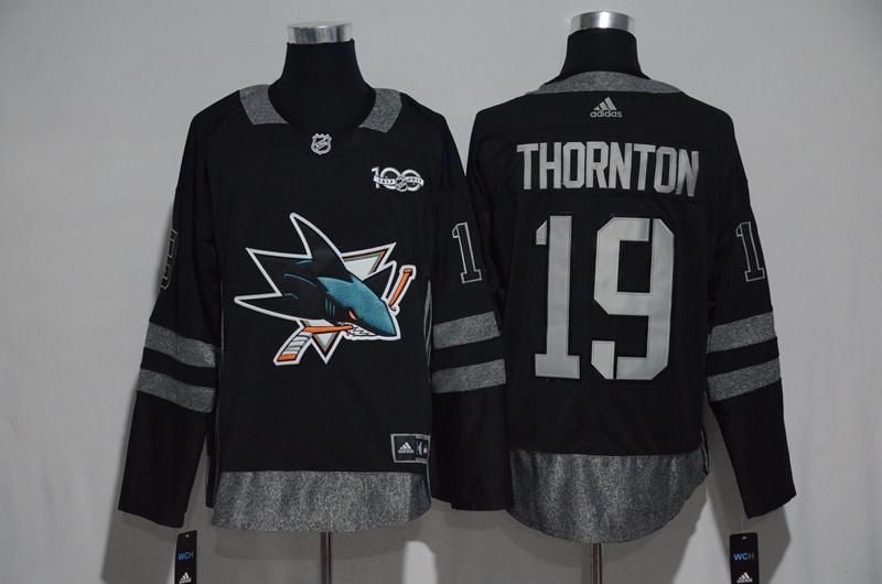 Sharks 19 Joe Thornton Black 1917-2017 100th Anniversary Adidas Jersey