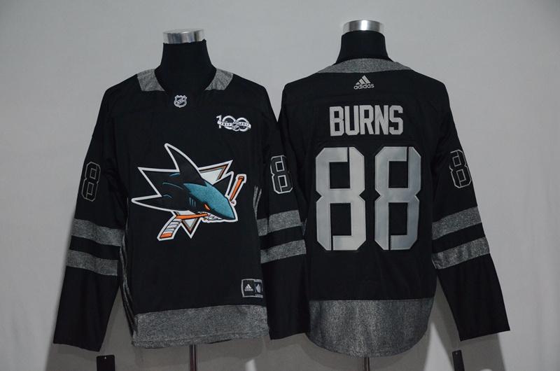 Sharks 88 Brent Burns Black 1917-2017 100th Anniversary Adidas Jersey