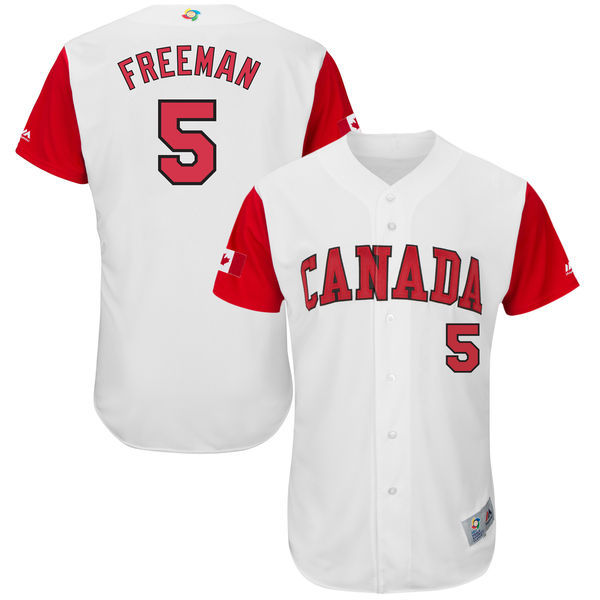 Men's Canada Baseball 5 Freddie Freeman White 2017 World Baseball Classic Jersey