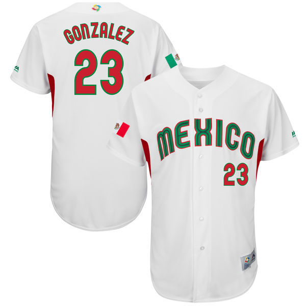 Men's Mexico Baseball 23 Adrian Gonzalez White 2017 World Baseball Classic Jersey