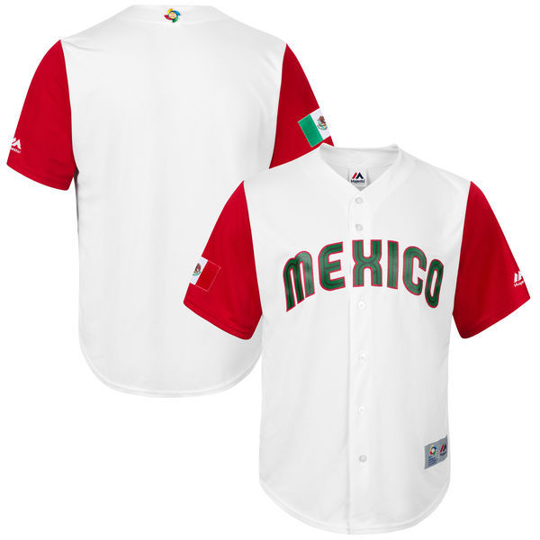 Men's Mexico Baseball Majestic White 2017 World Baseball Classic Jersey