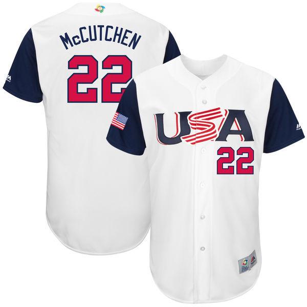 Men's USA Baseball 22 Andrew McCutchen White 2017 World Baseball Classic Jersey