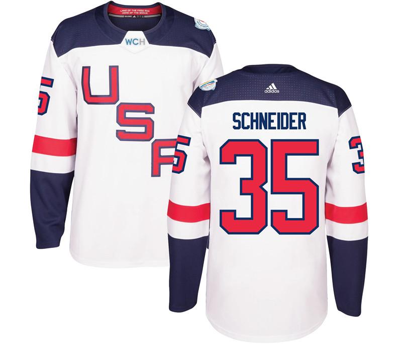 USA 35 Cory Schneider White 2016 World Cup Of Hockey Premier Player Jersey