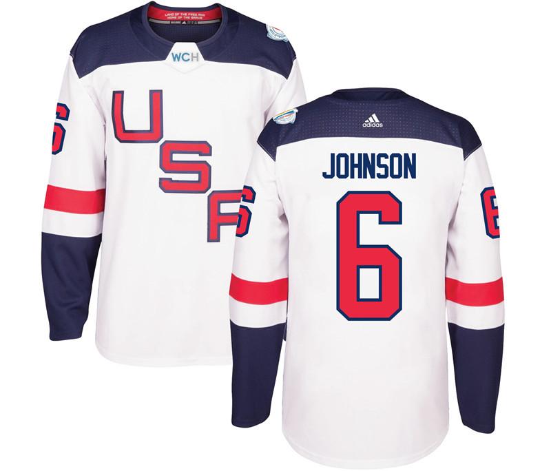 USA 6 Erik Johnson White 2016 World Cup Of Hockey Premier Player Jersey