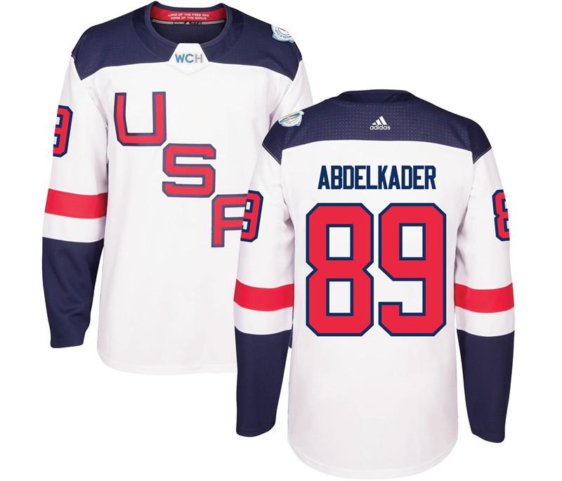 USA 89 Justin Abdelkader White 2016 World Cup Of Hockey Premier Player Jersey