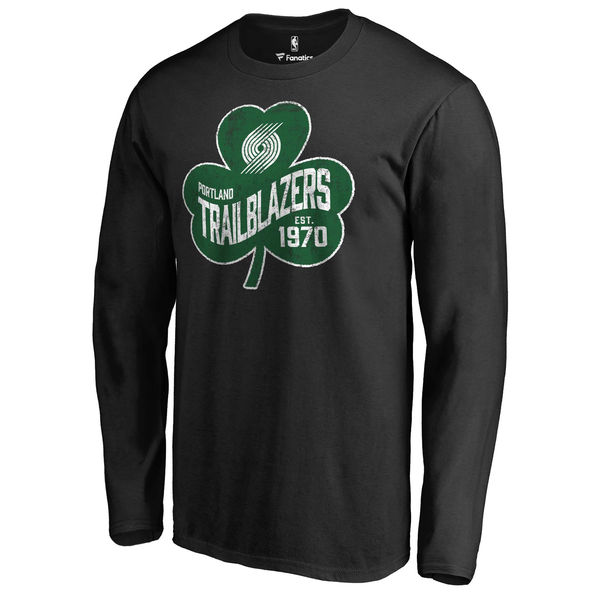 Portland Trail Blazers Fanatics Branded Black Big & Tall St. Patrick's Day Paddy's Pride Long Sleeve T-Shirt