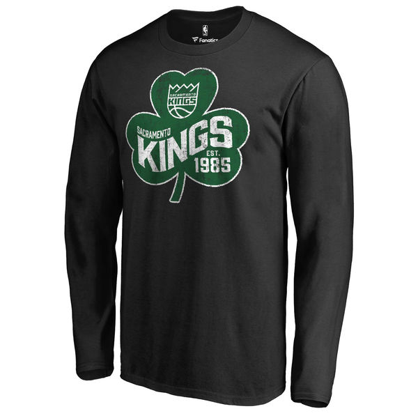 Sacramento Kings Fanatics Branded Black Big & Tall St. Patrick's Day Paddy's Pride Long Sleeve T-Shirt