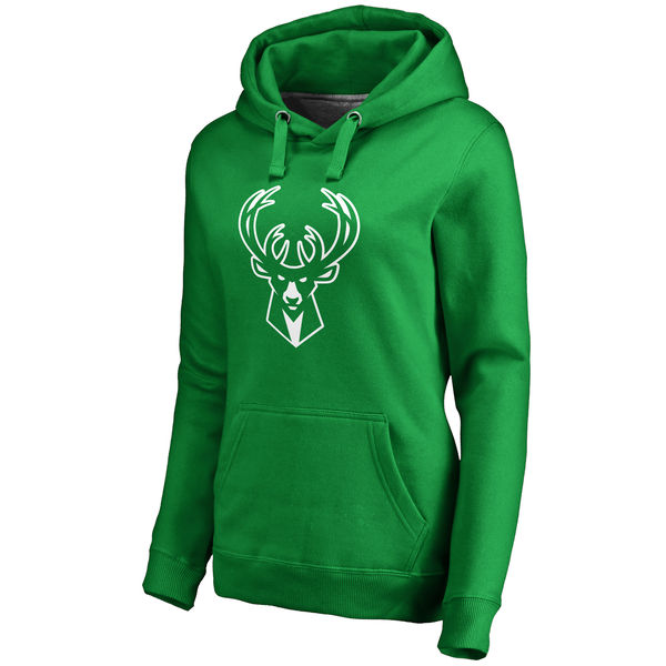 Milwaukee Bucks Fanatics Branded Women's Kelly Green St. Patrick's Day White Logo Pullover Hoodie