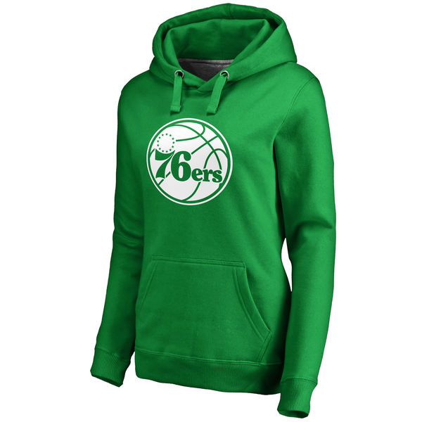 Philadelphia 76ers Fanatics Branded Women's Kelly Green St. Patrick's Day White Logo Pullover Hoodie