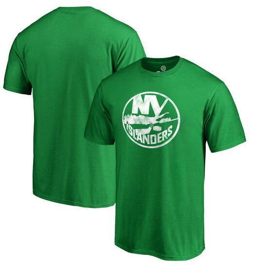 New York Islanders Fanatics Branded St. Patrick's Day White Logo T-Shirt Kelly Green