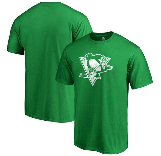 Pittsburgh Penguins Fanatics Branded St. Patrick's Day White Logo T-Shirt Kelly Green