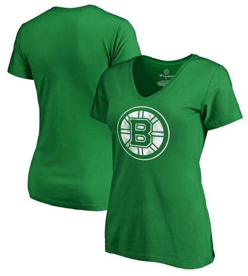 Boston Bruins Fanatics Branded Women's St. Patrick's Day White Logo T-Shirt Kelly Green