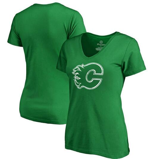 Calgary Flames Fanatics Branded Women's St. Patrick's Day White Logo T-Shirt Kelly Green