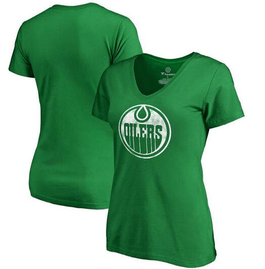 Edmonton Oilers Fanatics Branded Women's Plus Sizes St. Patrick's Day White Logo T-Shirt Kelly Green