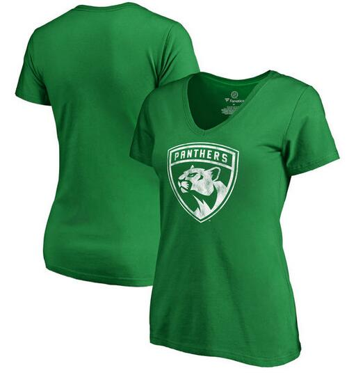 Florida Panthers Fanatics Branded Women's St. Patrick's Day White Logo T-Shirt Kelly Green