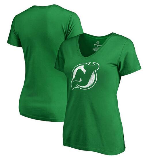 New Jersey Devils Fanatics Branded Women's St. Patrick's Day White Logo T-Shirt Kelly Green