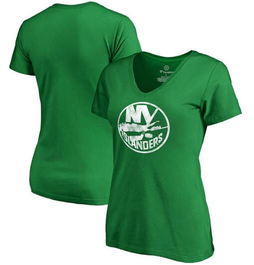 New York Islanders Fanatics Branded Women's Plus Sizes St. Patrick's Day White Logo T-Shirt Kelly Green